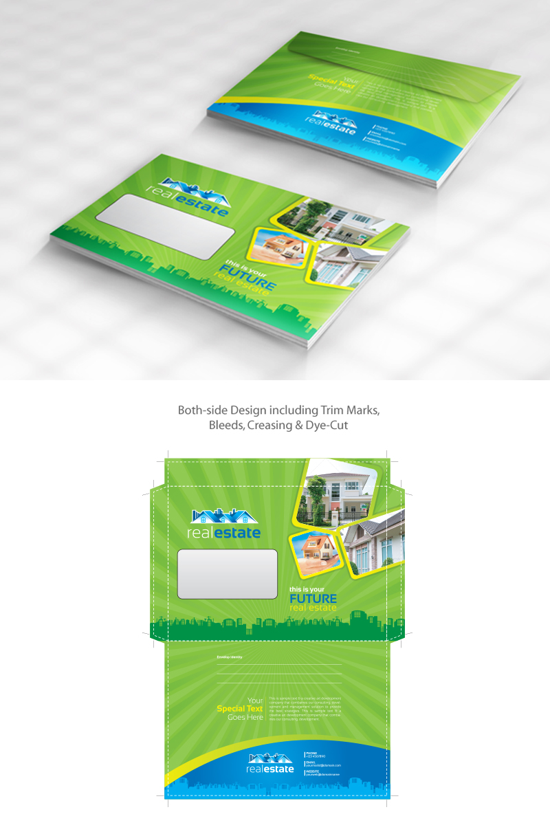 Real Estate Envelope Design Pack | Official Size and Commercial Size Corporate Identity Template
