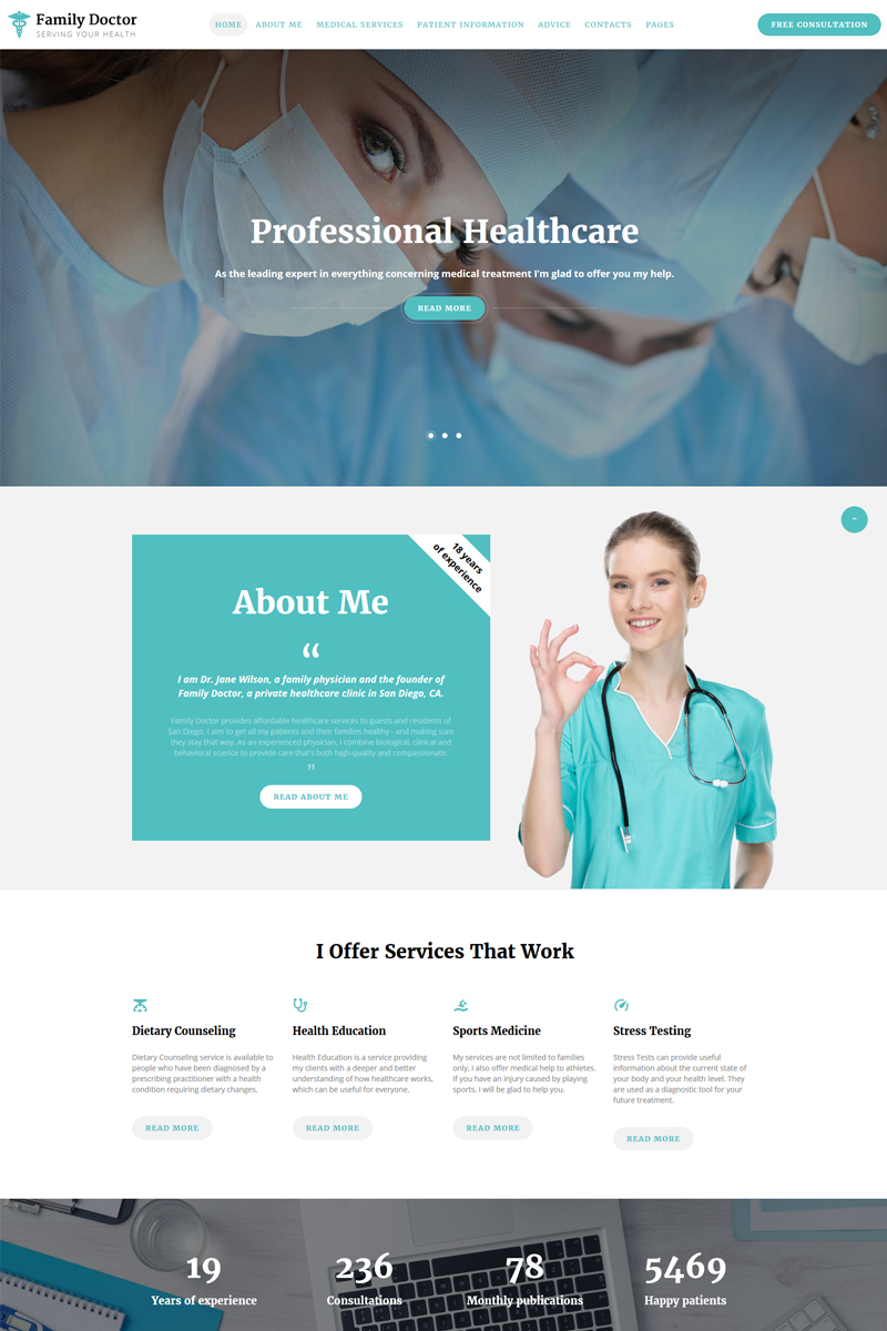 Responsywny szablon strony www Family Doctor - Medical Consulting Multipage HTML5 #67733