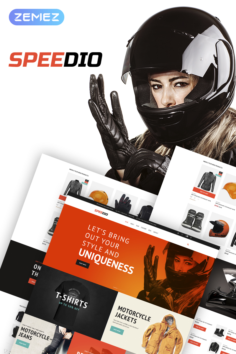 """Speedio - Responsive Cars & Motorcycles Equipment Store"" - адаптивний WooCommerce шаблон №67736"
