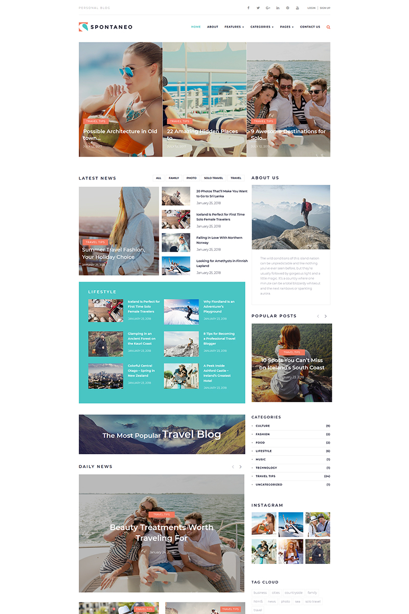 Spontaneo - Personal Travel Blog WordPress Theme - screenshot