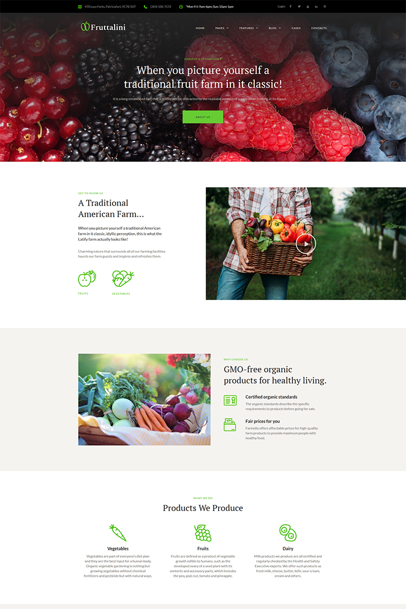 "Tema De WordPress ""Fruttalini - Organic Fruit Farm Responsive"" #67793 - captura de pantalla"
