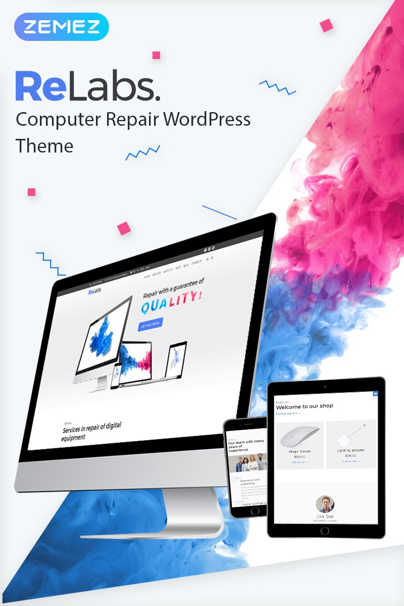 "Template WordPress Responsive #67711 ""ReLabs - Computer Repair"""