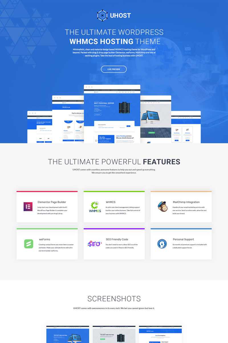 uHost - Web Hosting  with WHMCS Support WordPress Theme - screenshot
