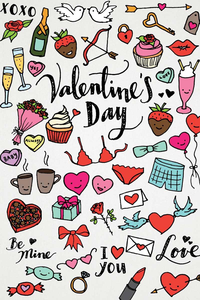 Valentine's Day & Love Hand Sketched Clipart Pack Illustration - screenshot