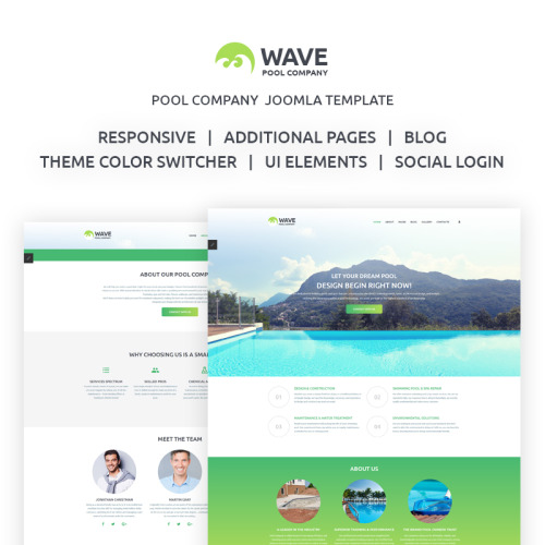 Wave - Fancy Swimming Pool Engineering Company - Joomla! Template based on Bootstrap