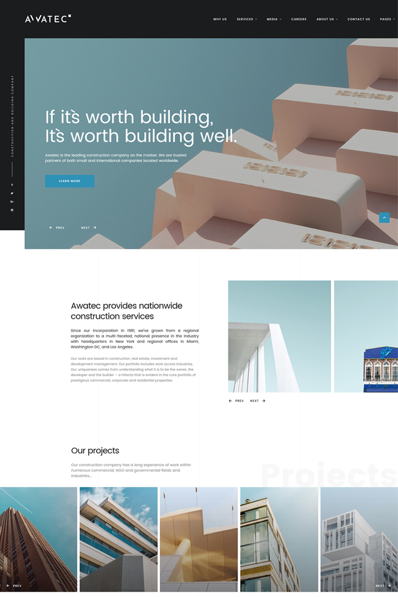 "Website Vorlage namens ""Awatec - Stylish Construction Company Multipage HTML"" #67774 - Screenshot"