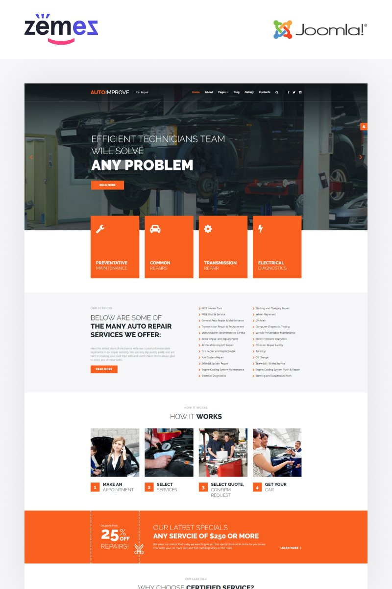 """Autoimprove - Car Repair Multipage Creative"" - адаптивний Joomla шаблон №67855"