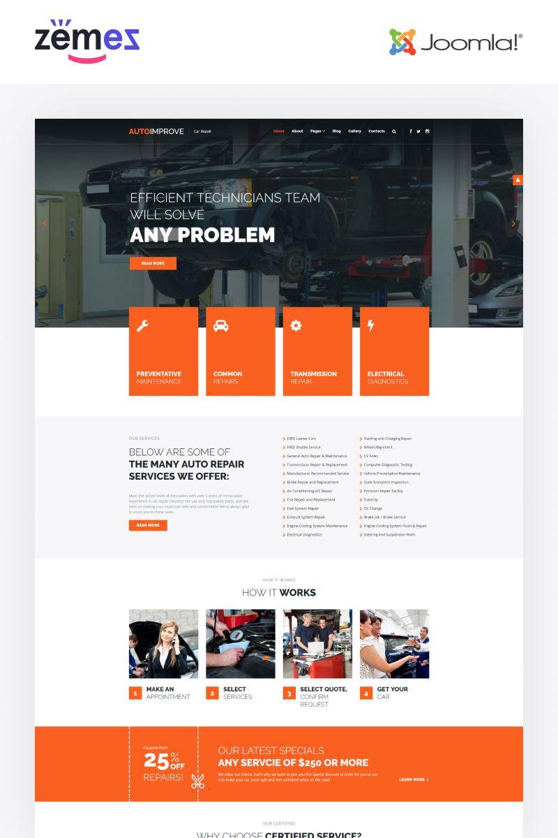 Autoimprove - Car Repair Multipage Creative Template Joomla №67855