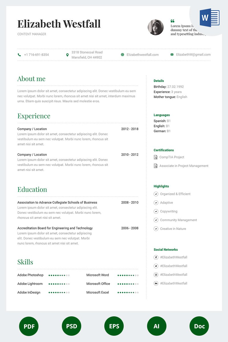 content manager resume