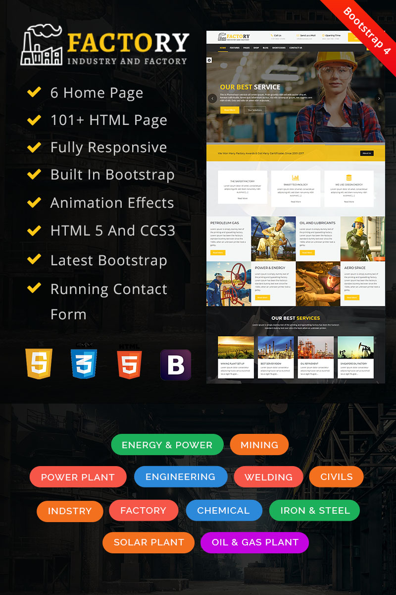 """""""Factory : Factory & Industrial HTML"""" Responsive Website template №67854"""