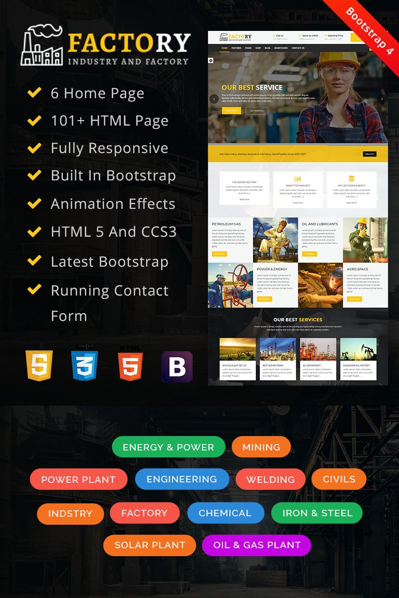 Factory : Factory & Industrial HTML Template Web №67854