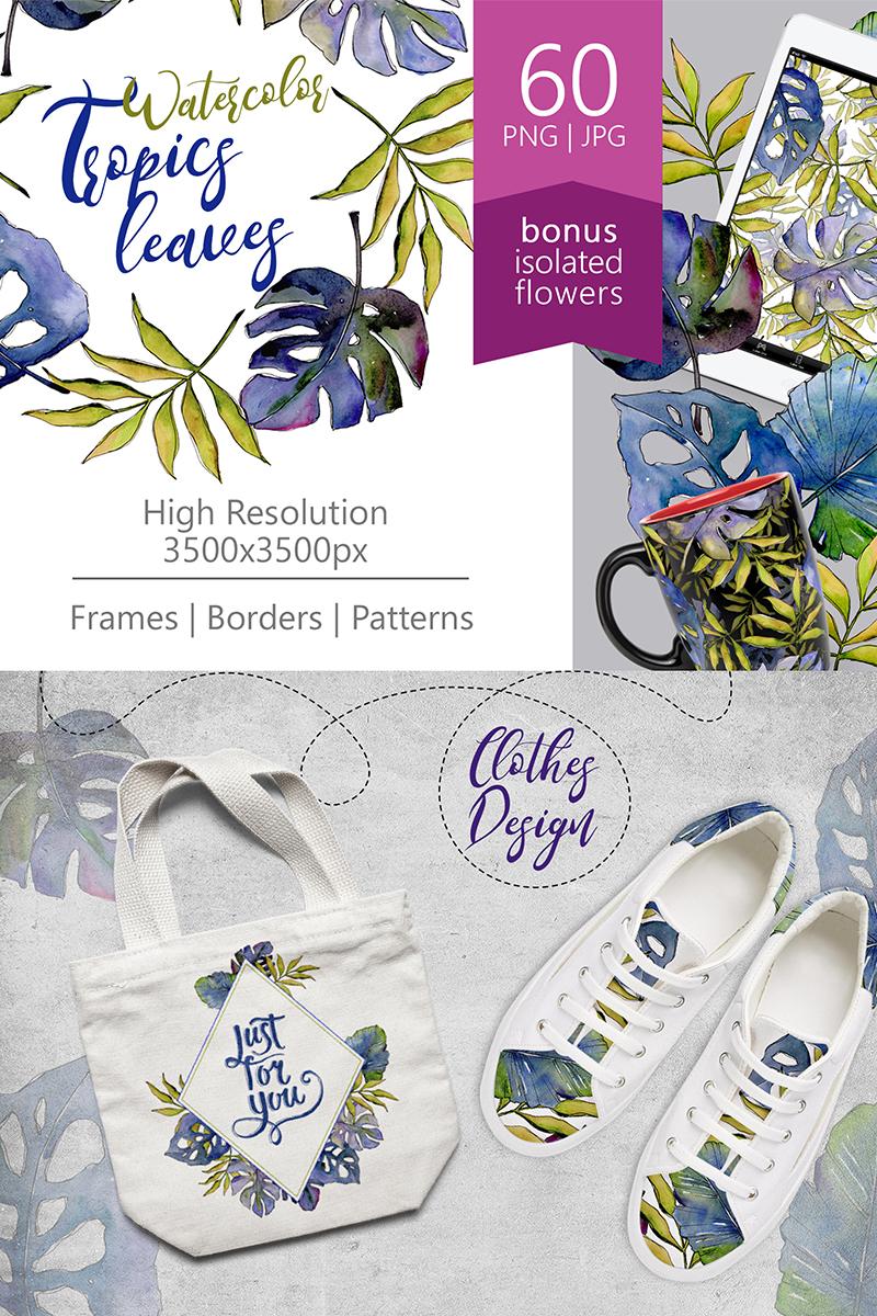 Ilustracja Tropics Leaves PNG Watercolor Set #67843