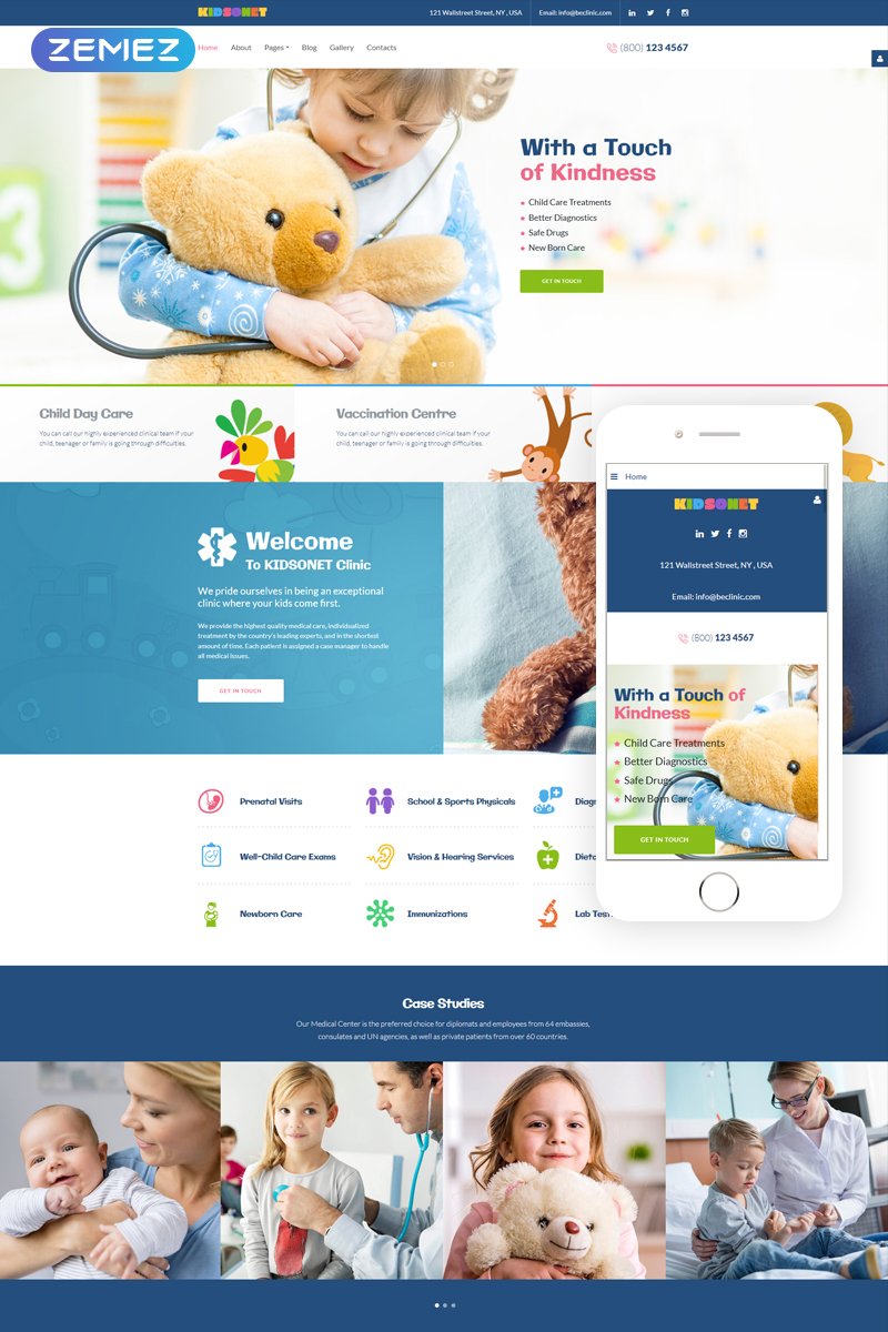 """Kidsonet - Responsive Kids Medical Clinic"" Responsive Joomla Template №67867"