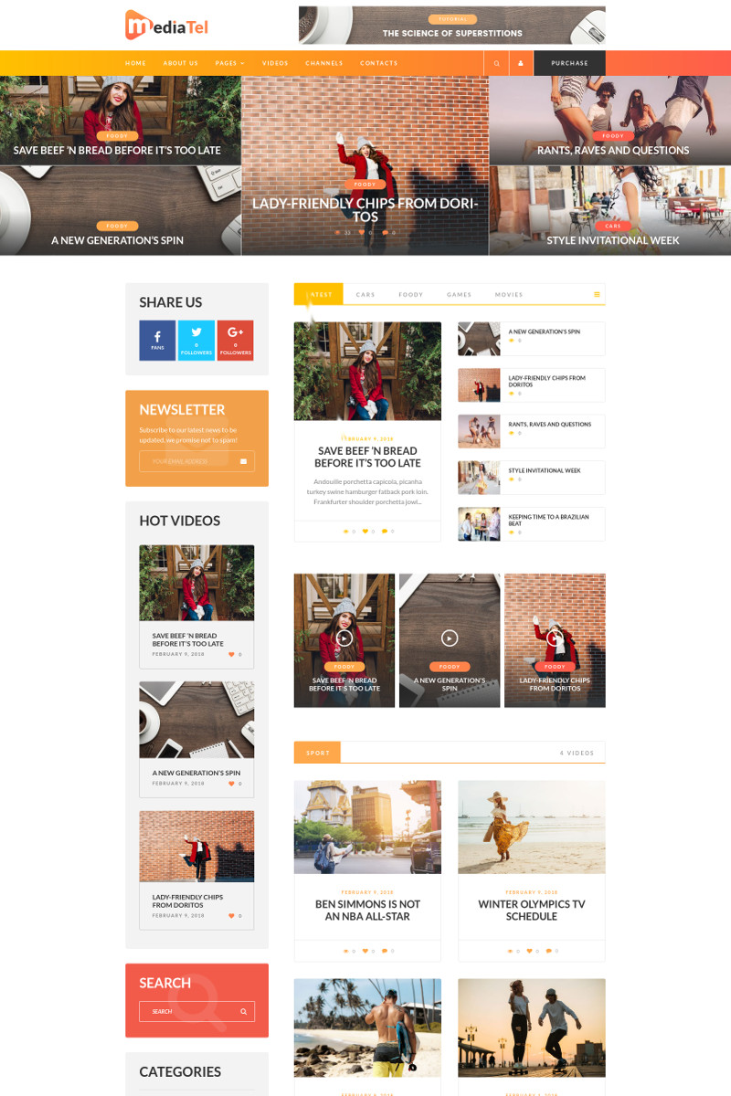 """MediaTel - Youtube/Vimeo Video News Aggregator Magazine"" - адаптивний WordPress шаблон №67870"