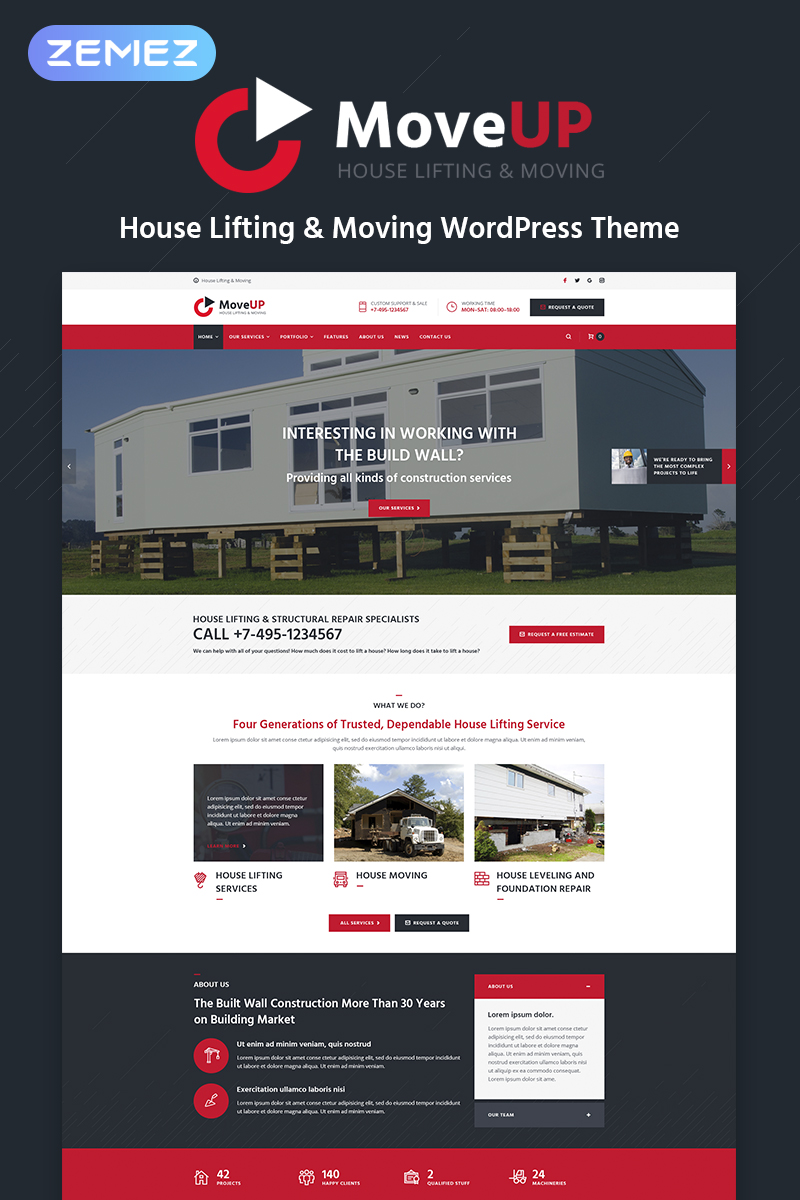 MoveUp - House Lifting & Moving WordPress Theme