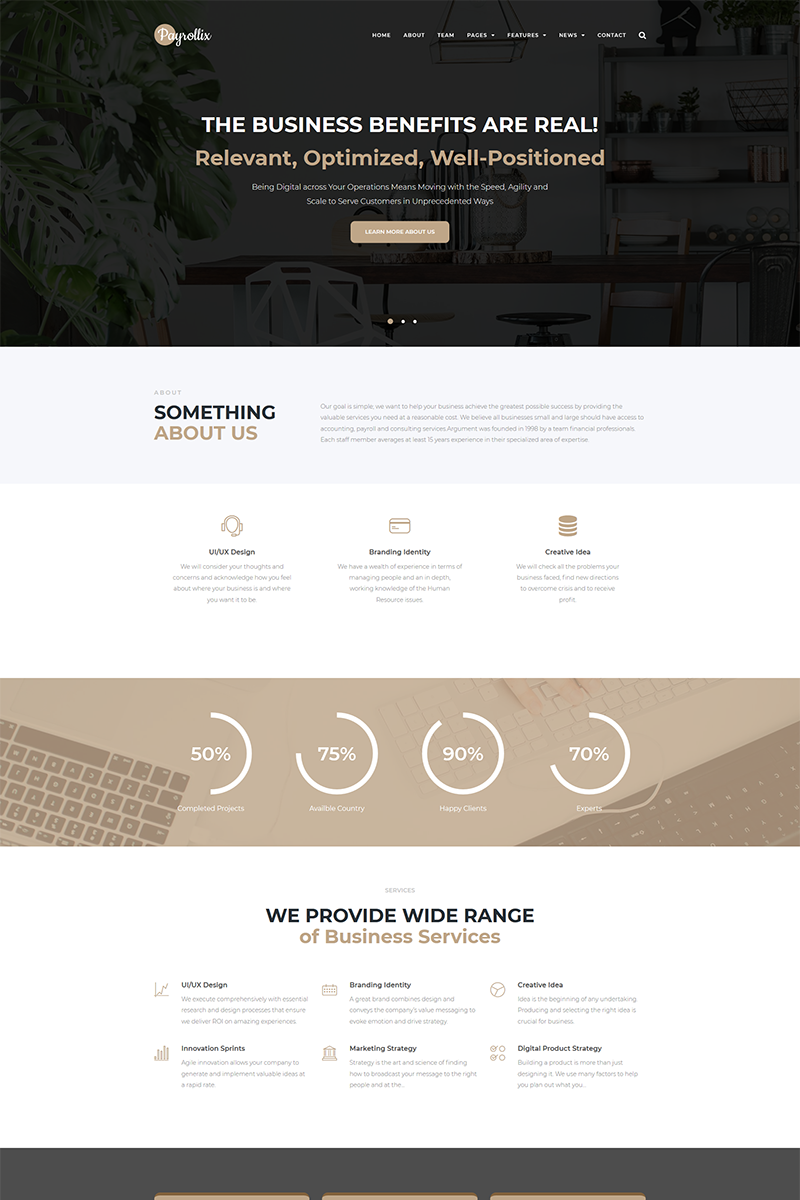 Payrollix - Internet Business Accounting WordPress Theme