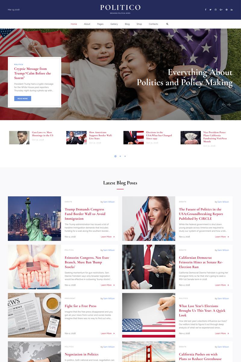 """Politico - Political Magazine Multipage HTML5"" - адаптивний Шаблон сайту №67813"