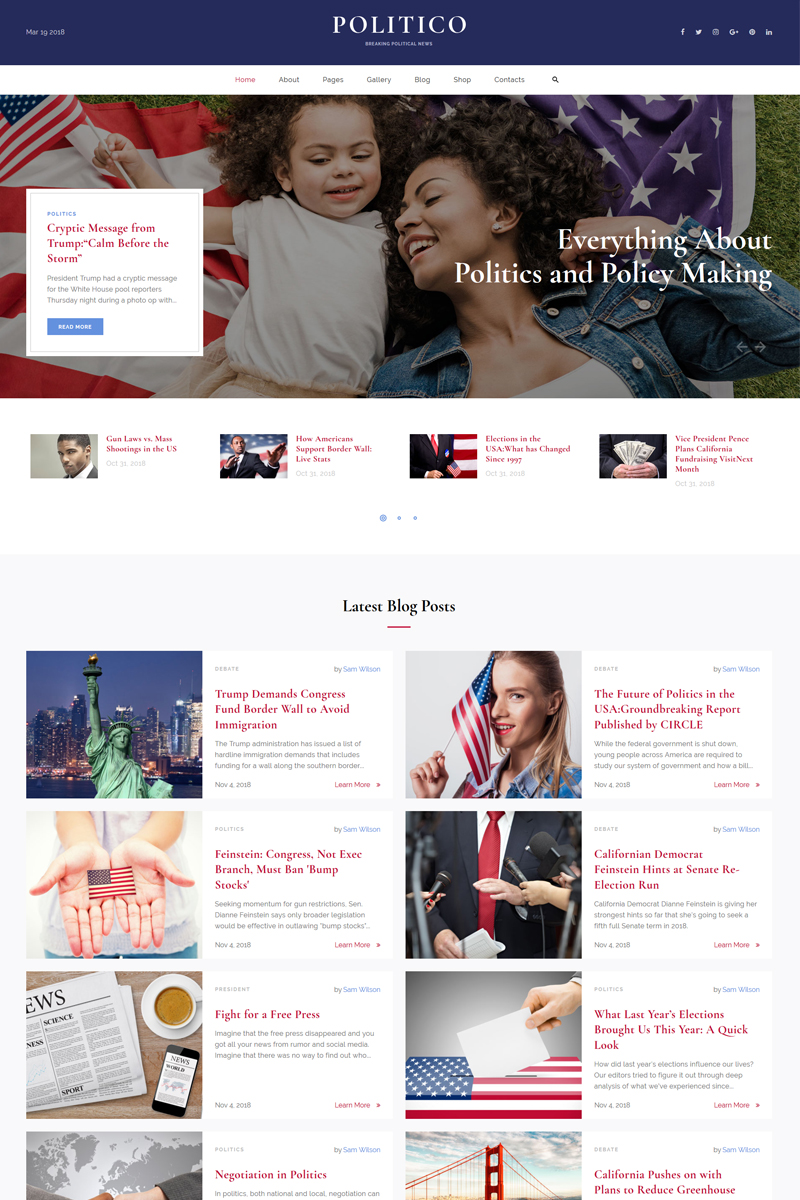 Politico - Political Magazine Multipage HTML5 Website Template - screenshot