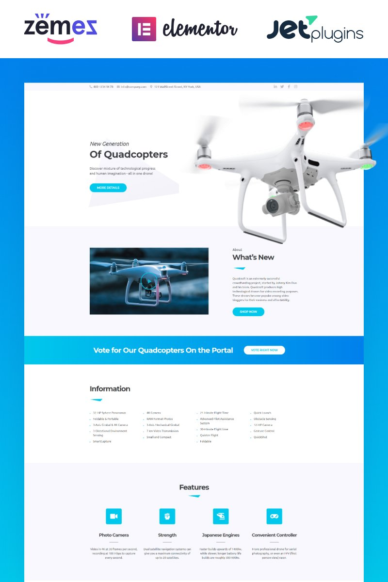 """""""Quardcraft - Drone Template for UAV Needs with the Elementor Builder"""" 响应式WordPress模板 #67879"""