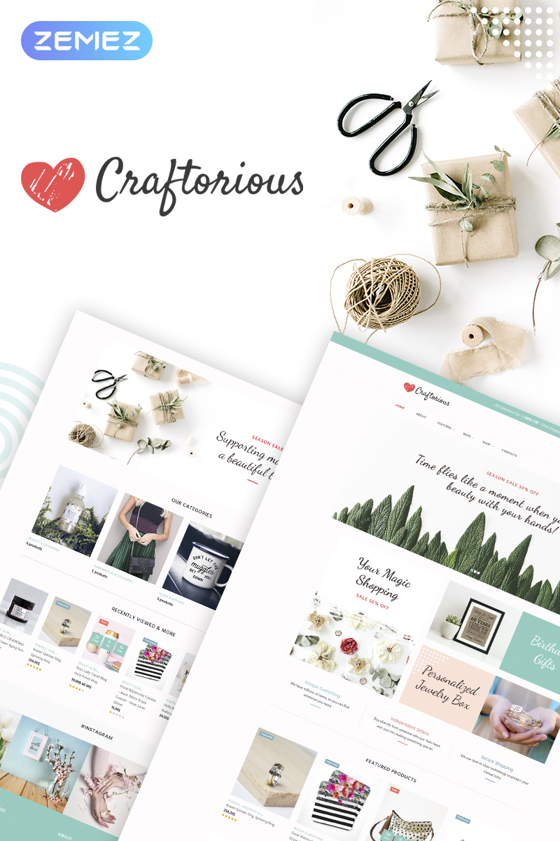 Responsive Craftorious - Handmade Gift Store Woocommerce #67885