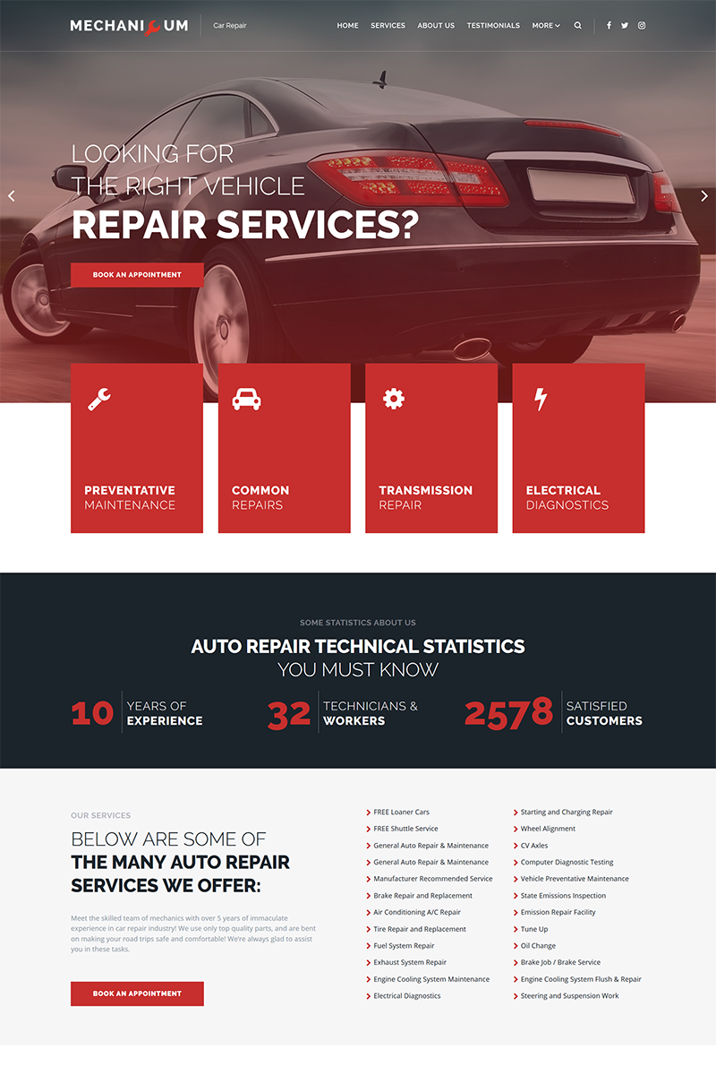 Responsivt Mechanicum - Car Repair Elementor WordPress-tema #67865