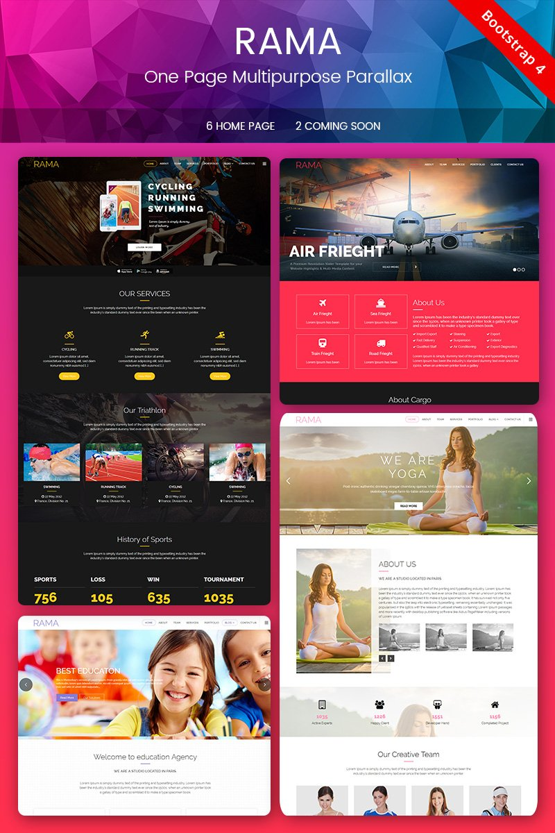 Responsivt RAMA - One Page Multipurpose Parallax Landing Page-mall #67827