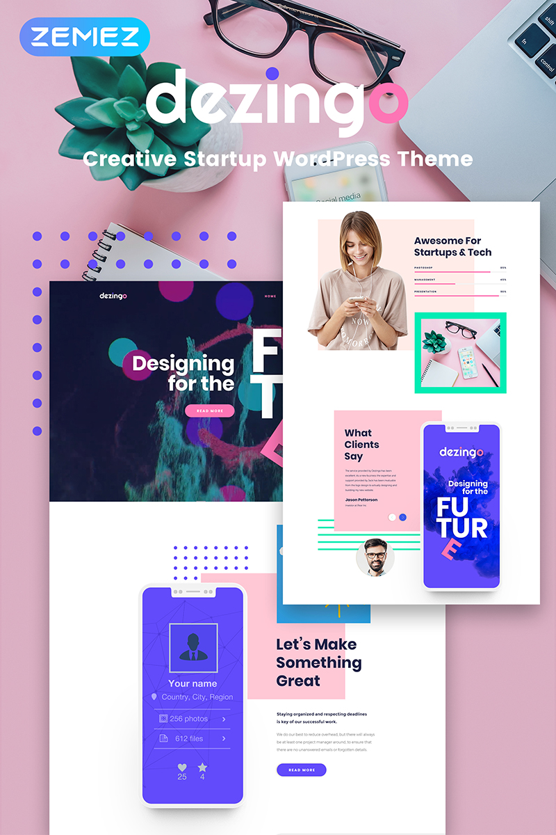 Responsywny motyw WordPress Dezingo - Creative Startup #67899 - zrzut ekranu