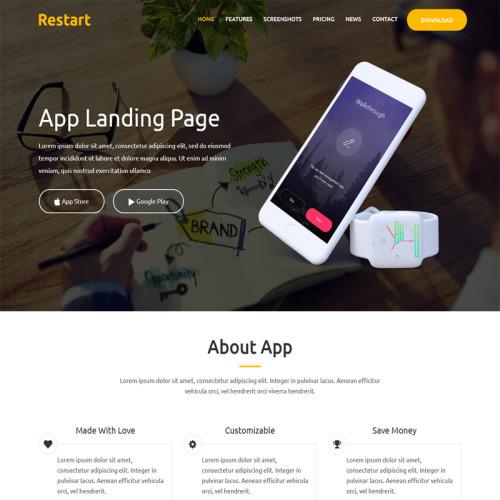 Restart- Responsive App - Landing Page Template based on Bootstrap