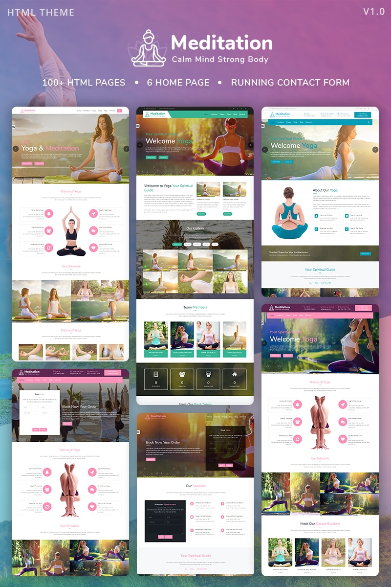 Reszponzív Meditation - Yoga, Fitness & Meditation Mobile Responsive Bootstrap HTML Weboldal sablon 67857