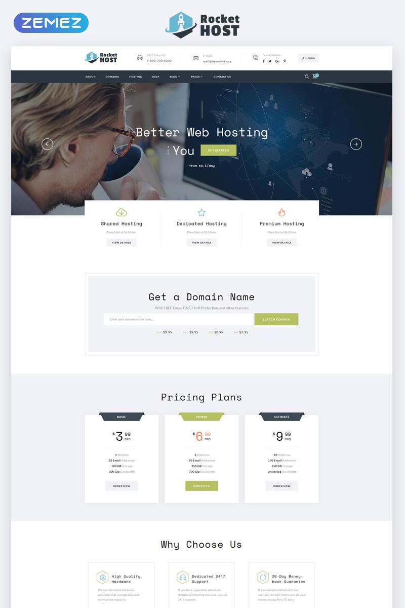 Reszponzív Rocket Host - Domain And Hosting Multipage HTML5 Weboldal sablon 67848 - képernyőkép