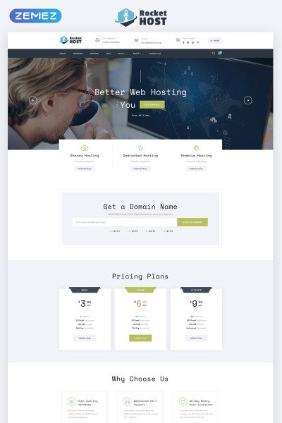 Rocket Host - Domain And Hosting Multipage HTML5 Website Template #67848
