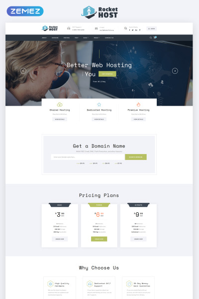 Rocket Host - Domain And Hosting Multipage HTML5 Website Template #67848