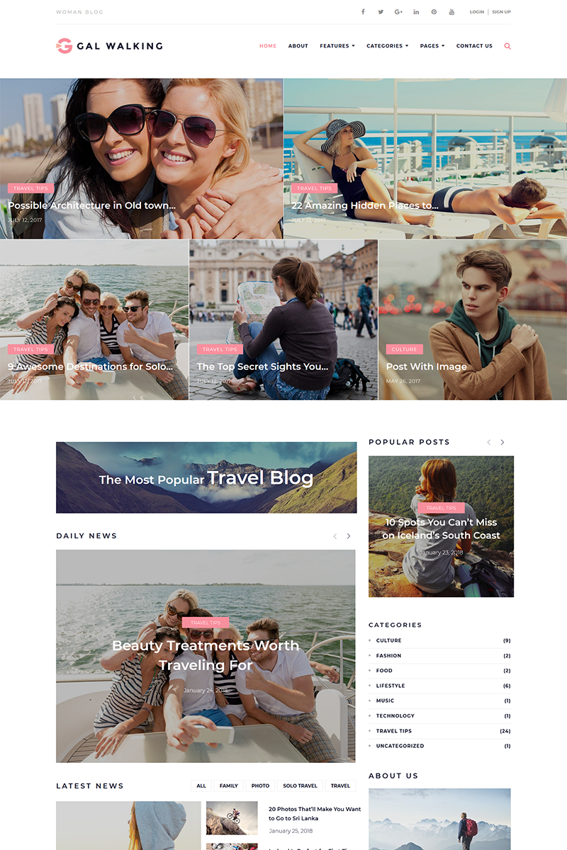 "Tema De WordPress ""Gal Walking - Woman Travel Blog"" #67862"
