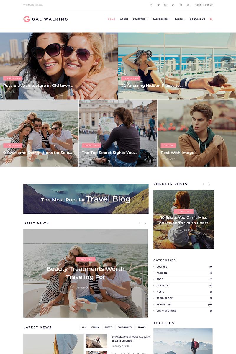 "WordPress Theme namens ""Gal Walking - Woman Travel Blog"" #67862"