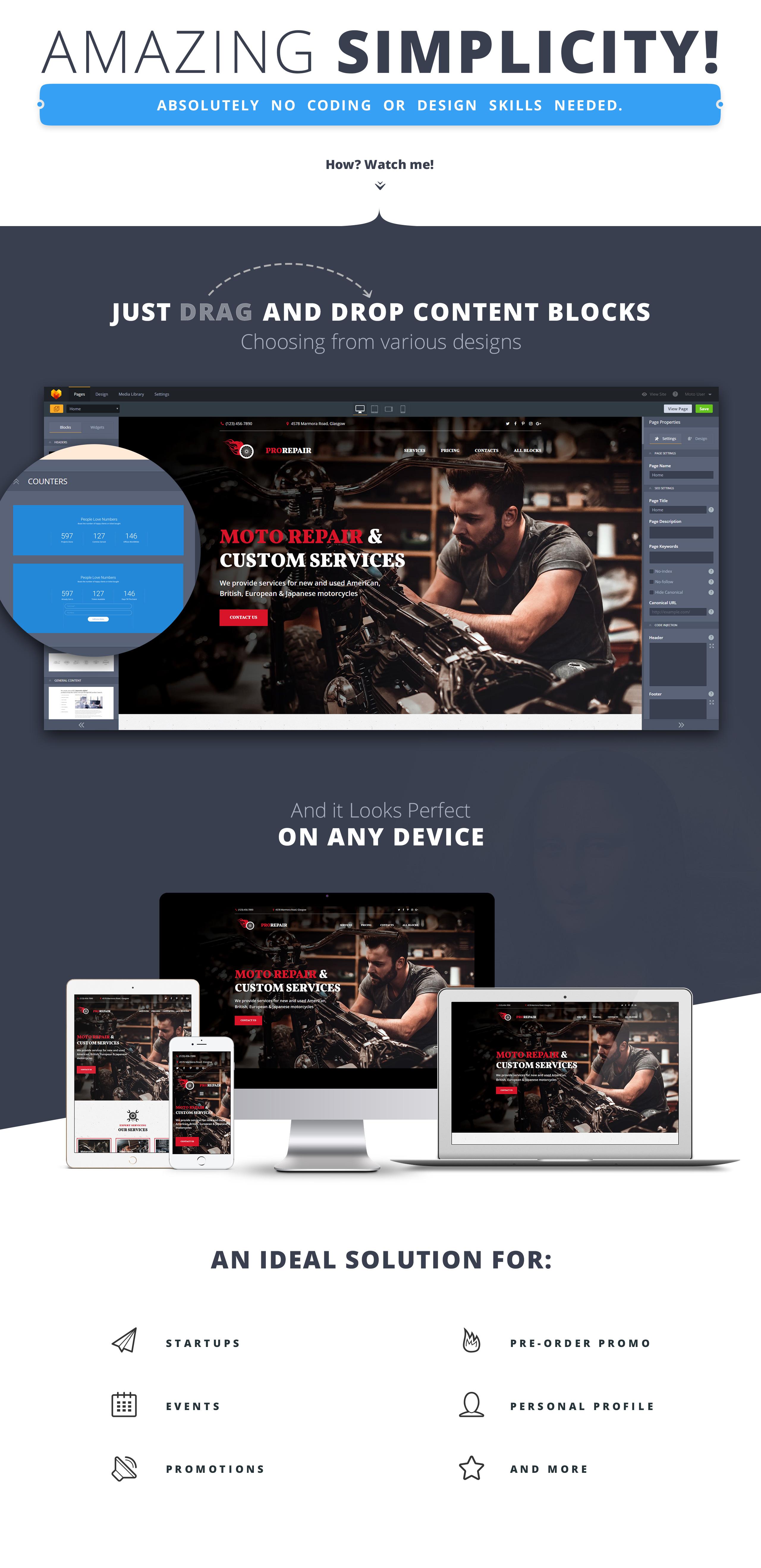 Motorcycle Repair Company MotoCMS 3 Landing Page Template
