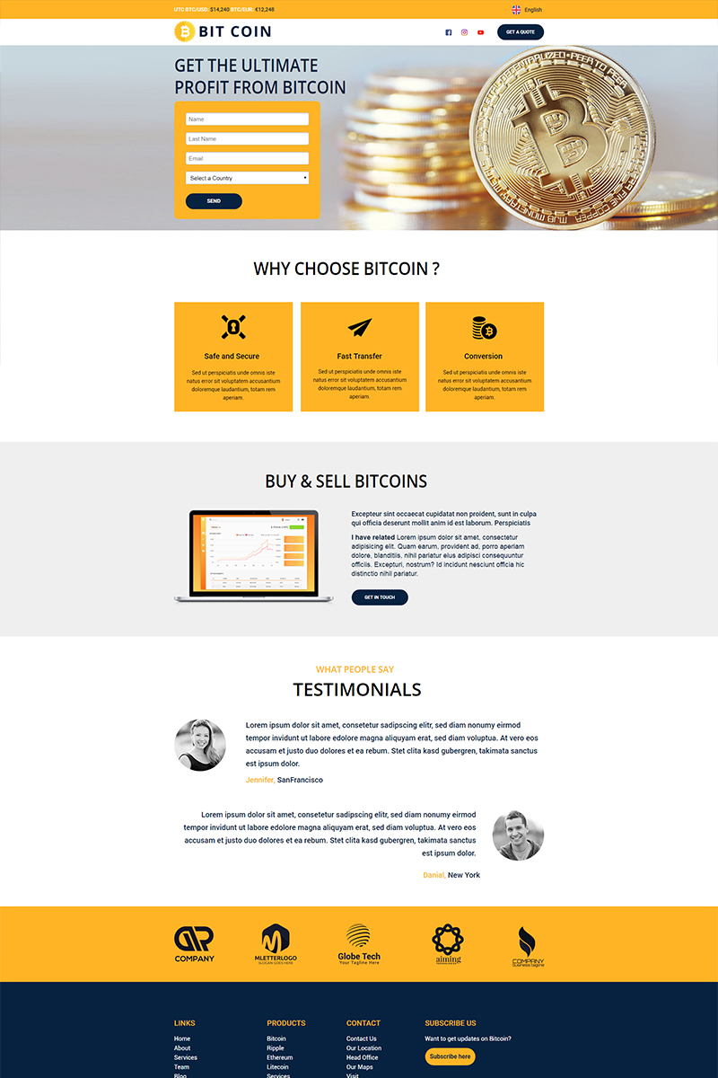 """BitCoin - Currency"" modèle Unbounce adaptatif #67936"