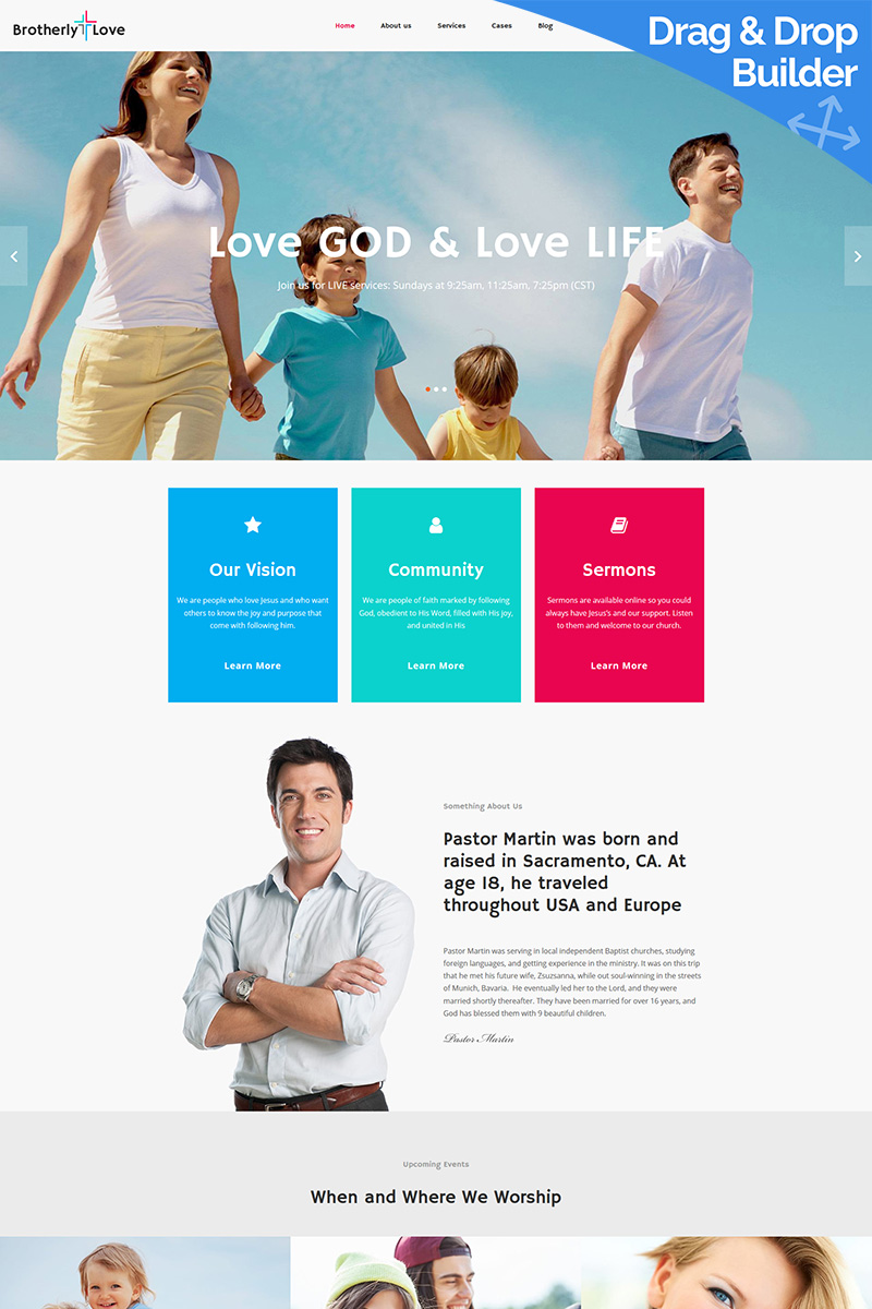 BrotherlyLove - Modern Church Moto CMS 3 Template