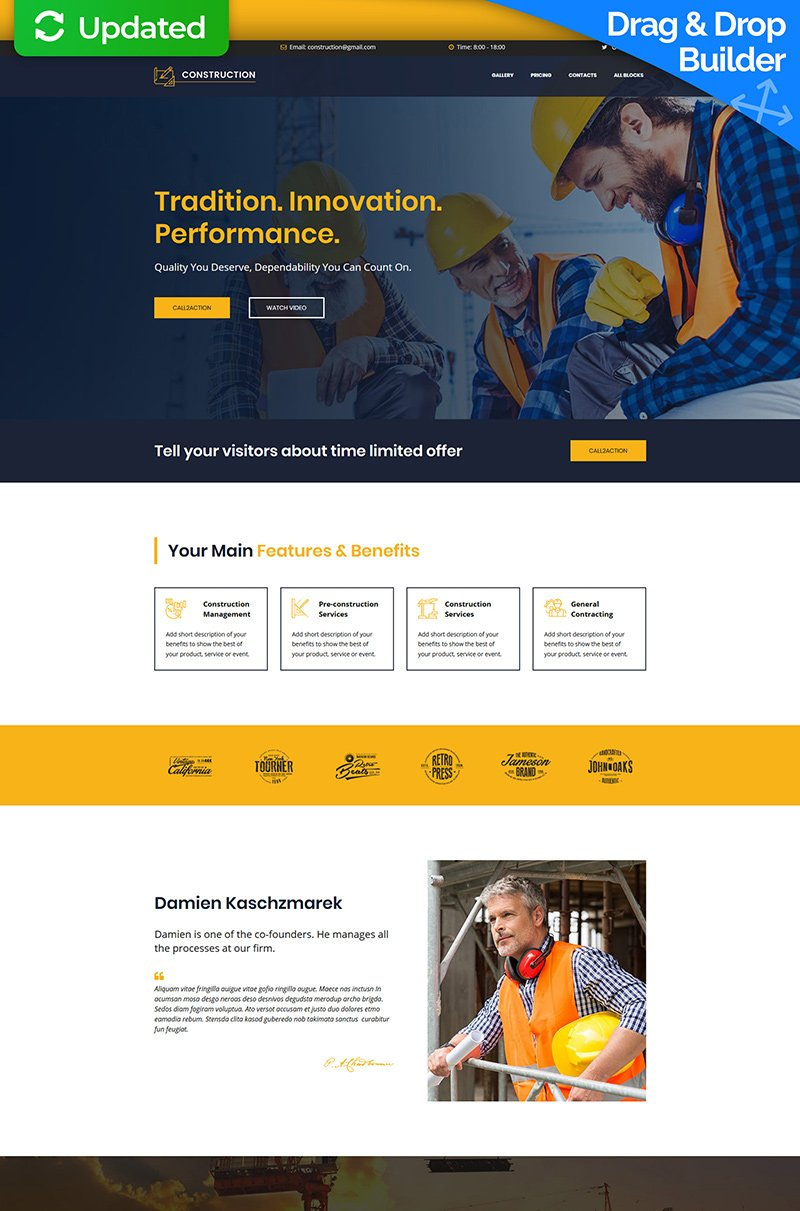 Construction MotoCMS 3 Landing Page Template - screenshot