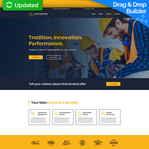 Construction MotoCMS 3 - Landing Page Template based on Bootstrap