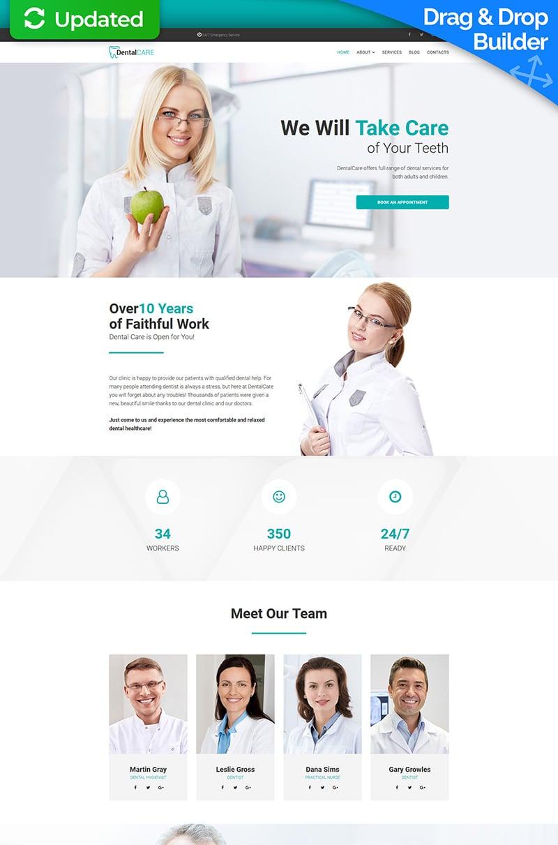 """DentalCare - Dental Clinic"" - адаптивний MotoCMS 3 шаблон №67979 - скріншот"