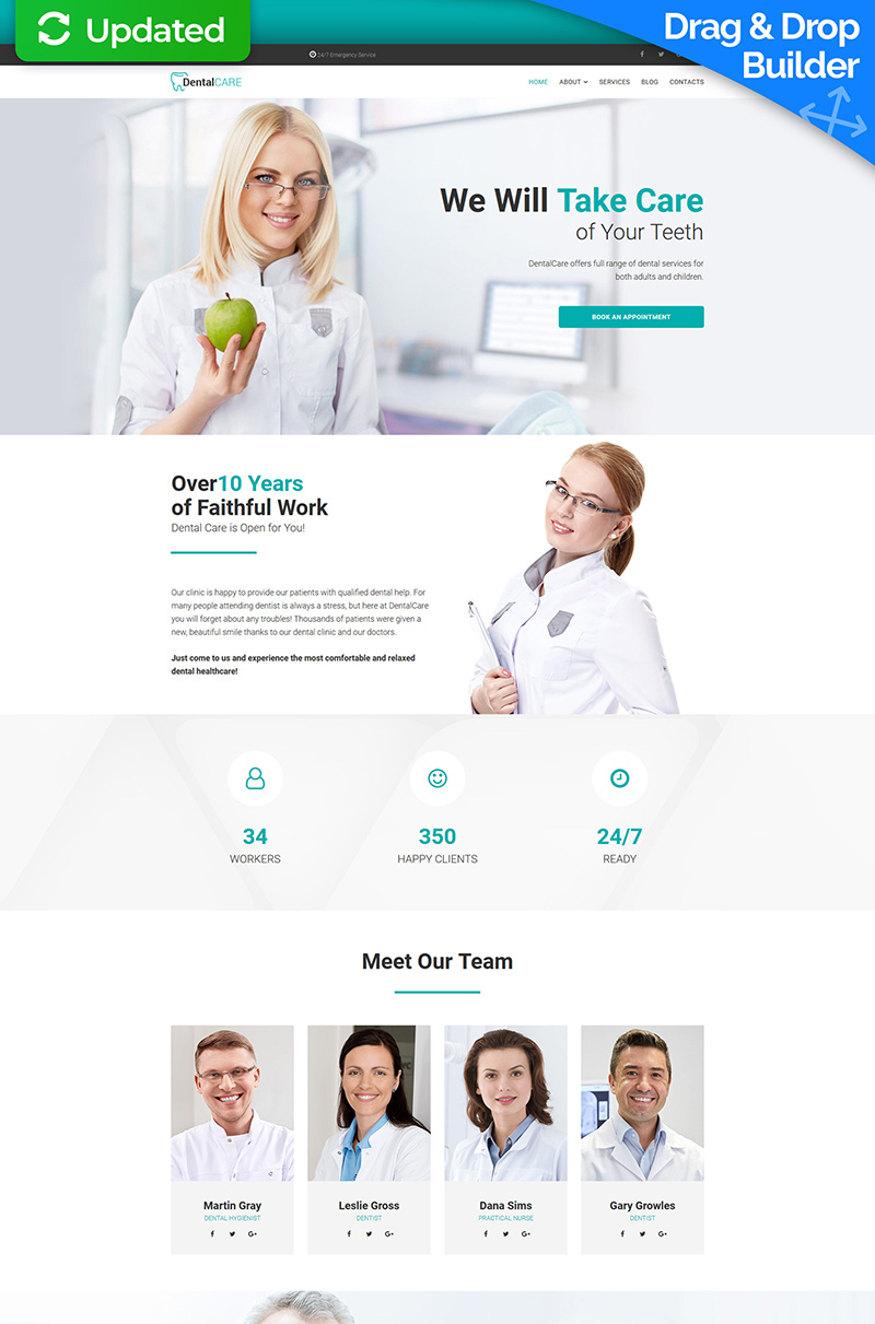 """DentalCare - Dental Clinic"" modèle Moto CMS 3 adaptatif #67979"