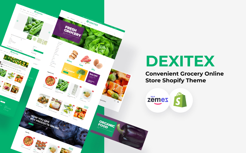 """Dexitex - Convenient Grocery Online Store"" - адаптивний Shopify шаблон №67907"