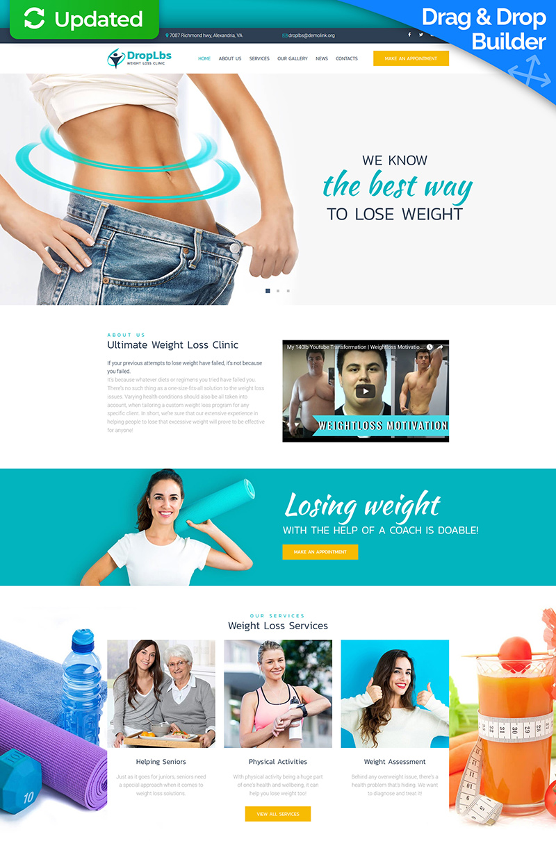 """DropLbs - Weight Loss Clinic"" modèle Moto CMS 3 adaptatif #67983"