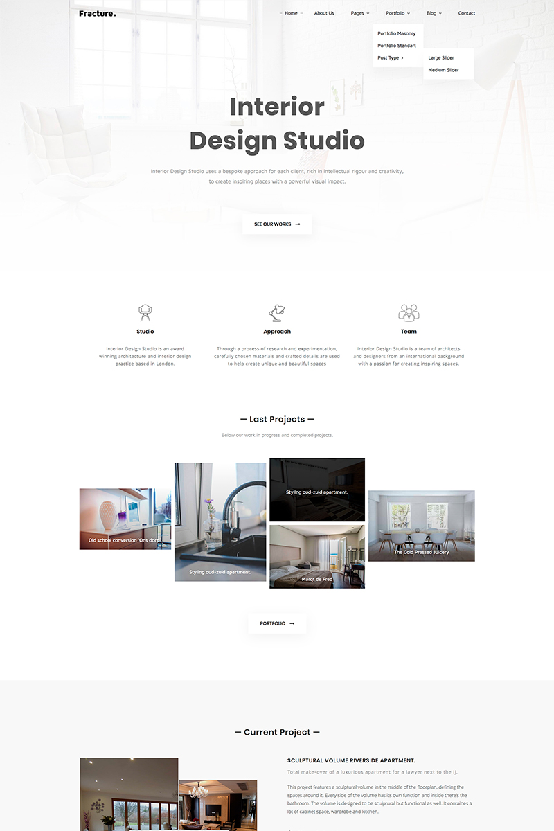 Fracture Architecture And Interior Design Responsive Website Template 67931