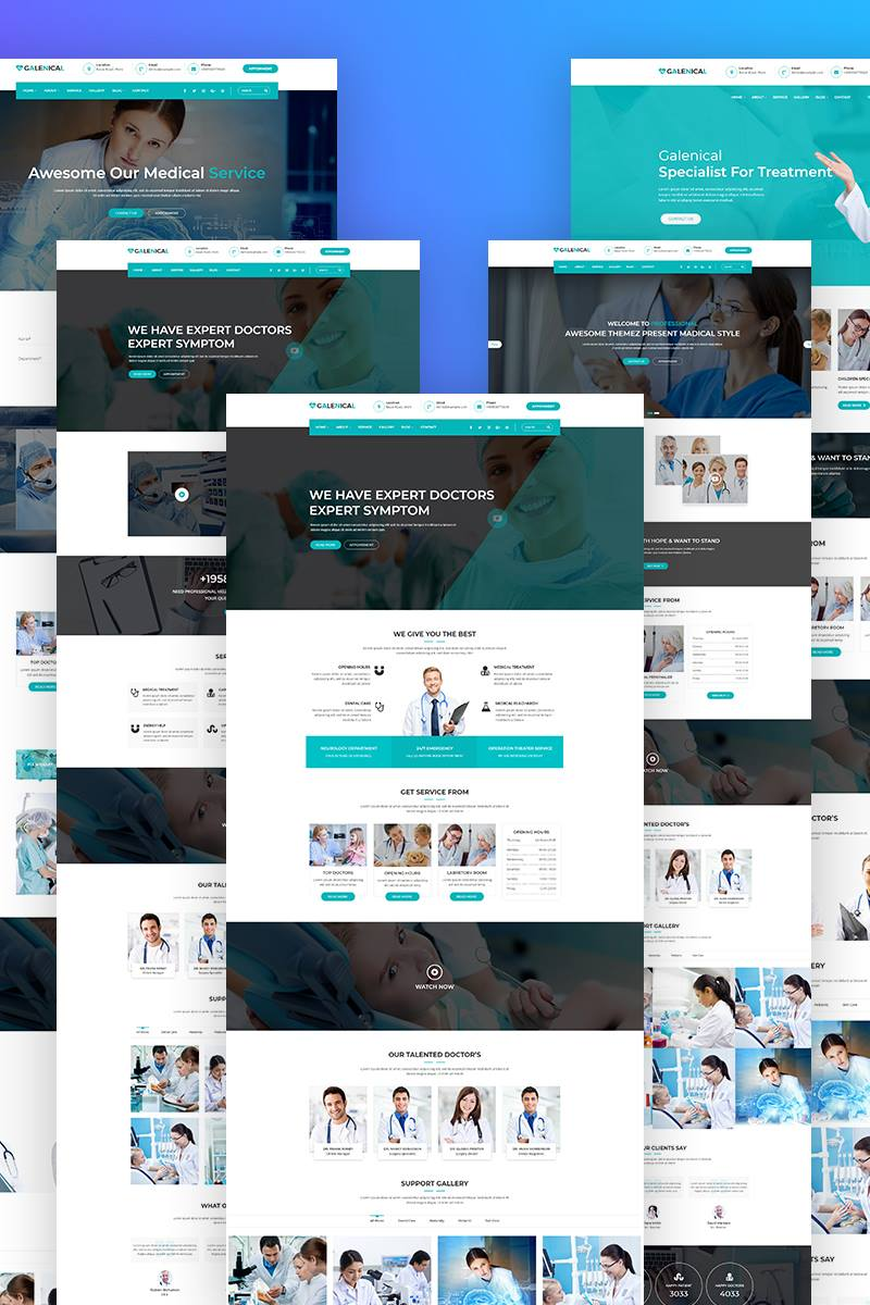 """Galenical - Medical & Health Service"" Responsive WordPress thema №67928"