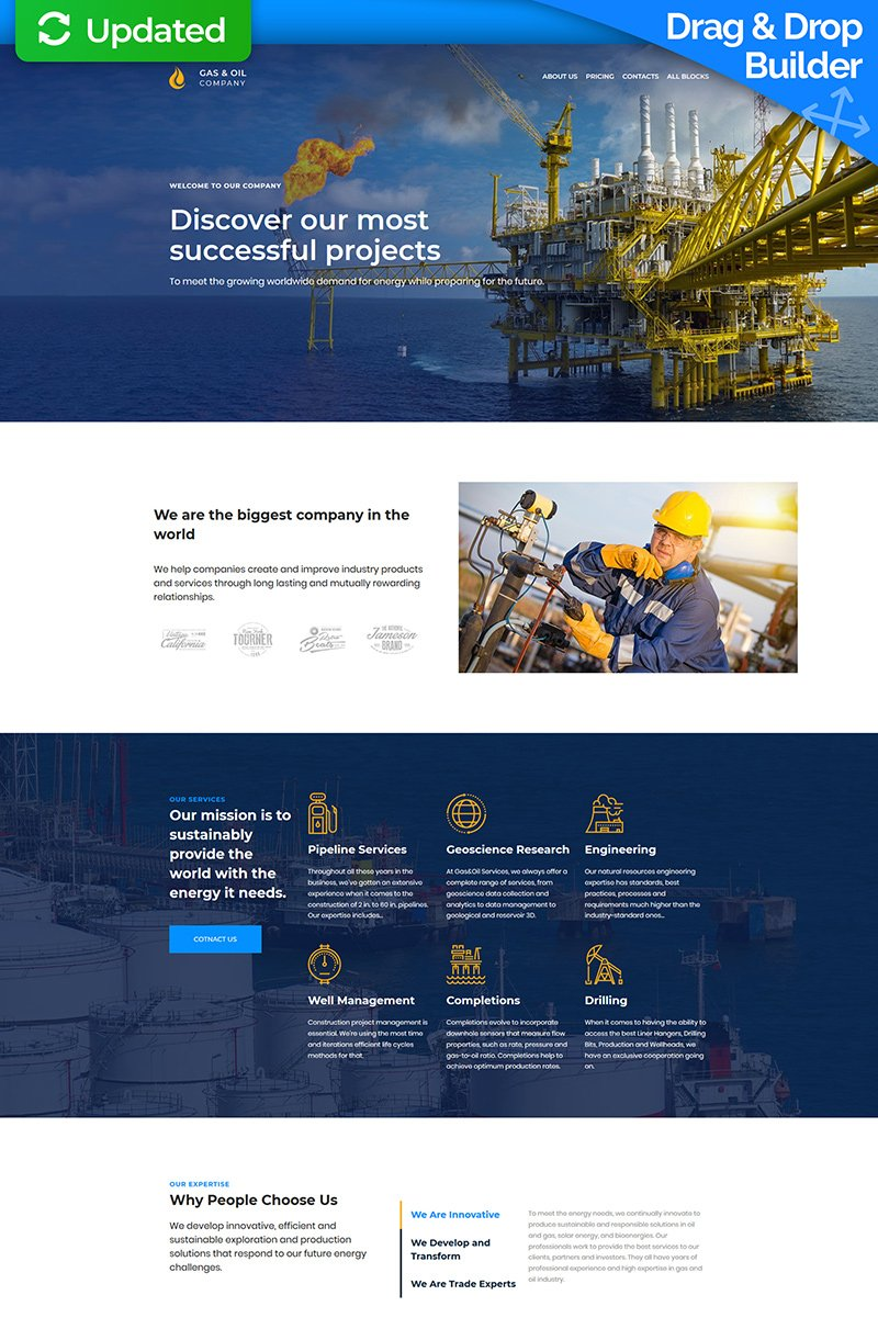 Gas&Oil MotoCMS 3 Landing Page Template
