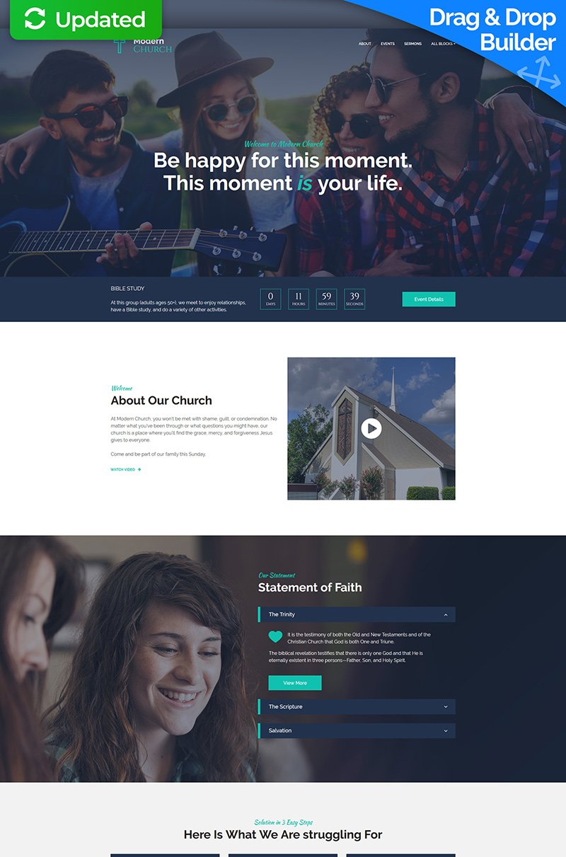 "Landing Page Template namens ""Modern Church - Religious MotoCMS 3"" #67959"