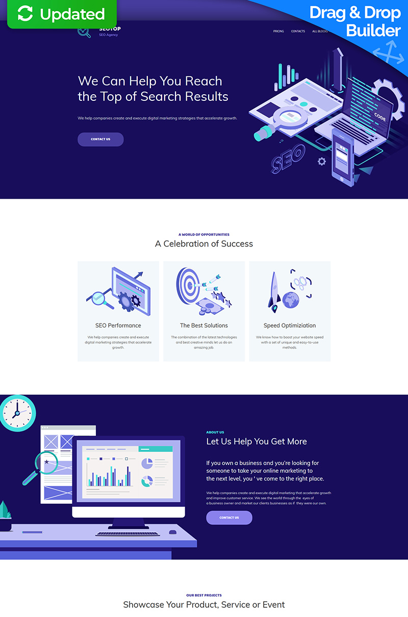 "Landing Page Template namens ""SEO Agency MotoCMS 3"" #67968 - Screenshot"