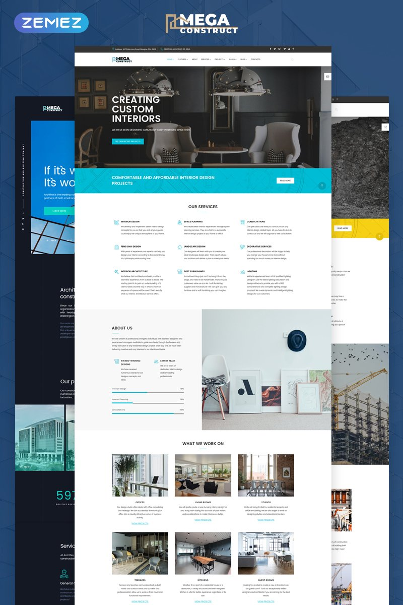 """""""Mega Construct - Construction Company Multipage HTML5"""" 响应式网页模板 #67941"""