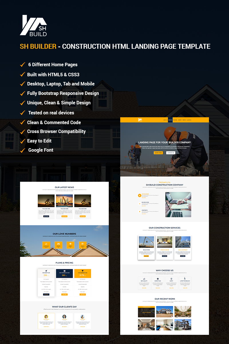 "Modello di Landing Page Responsive #67922 ""SH BUILDER - Construction HTML"""